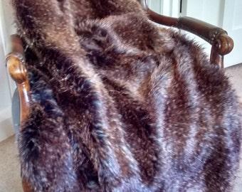 Koyote Brown Faux Fur Throw