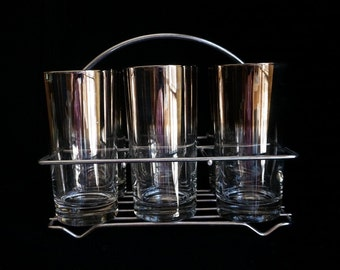 Rare Find Mid-Century Silver Ombré Glasses with Caddy
