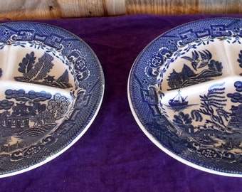The Peas Will Not Touch The Mashed Potatoes! 2 Vintage Blue & White Transferware Divided Plates Made Occupied Japan