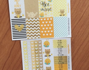 Bear and Bees Happy Planner Sticker Set