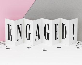 Engaged Card; Black and White Engagement Concertina Card; Keepsake Engagement Card; CC012