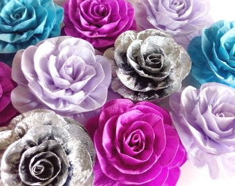 12 Giant large paper flowers lavander mint silver bridal baby Shower Mermaid Party Decor Wall wedding backdrop nursery gender reveal princes