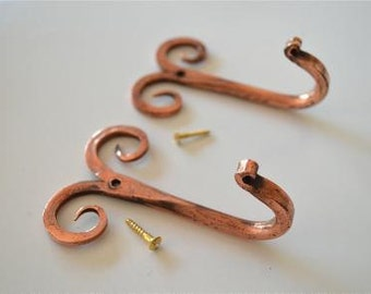 A pair of beautiful handmade copper curled top hooks CCT1