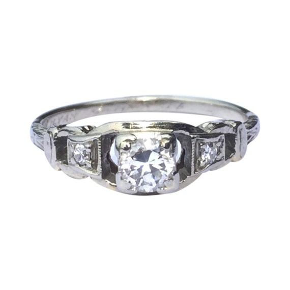 Art Deco Engagement Ring 1934 White Gold Multi Stone