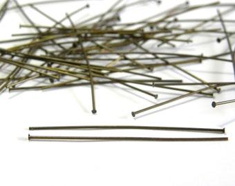 50x Antique Bronze Head Pins 50 mm