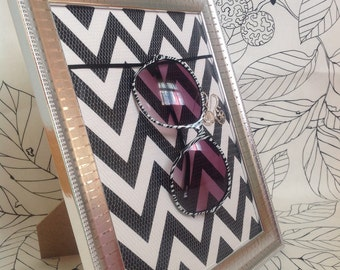 Jewelry organizer, earring holder, glasses display, necklace storage, chevron print organizer