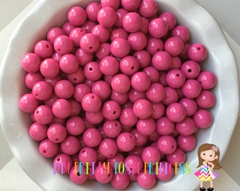 16mm Dark Pink Chunky Bubble Gum Bead Solids *Choose How Many