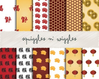 Chinese New Year:  Year of the Monkey -  Digital Papers suitable for scrapbooking, cards and more!