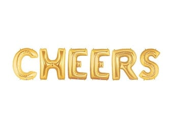 Cheers Letter Balloons, Gold Letter Balloons, Metallic Letter Balloons, Party Letter Balloons, Gold Party Balloons, Gold Party Decorations