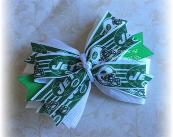 New York Jets Double Stacked Bow