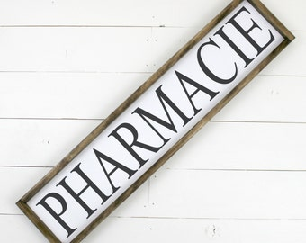 Pharmacie Sign Pharmacy Sign - Framed Wooden Sign Wood Sign