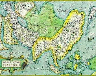Abraham Ortelius: Map of Asia. Antique/Vintage Map. Fine Art Print/Poster (003872)