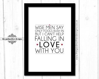 Falling in Love - Typography - Lyrics - PRINT