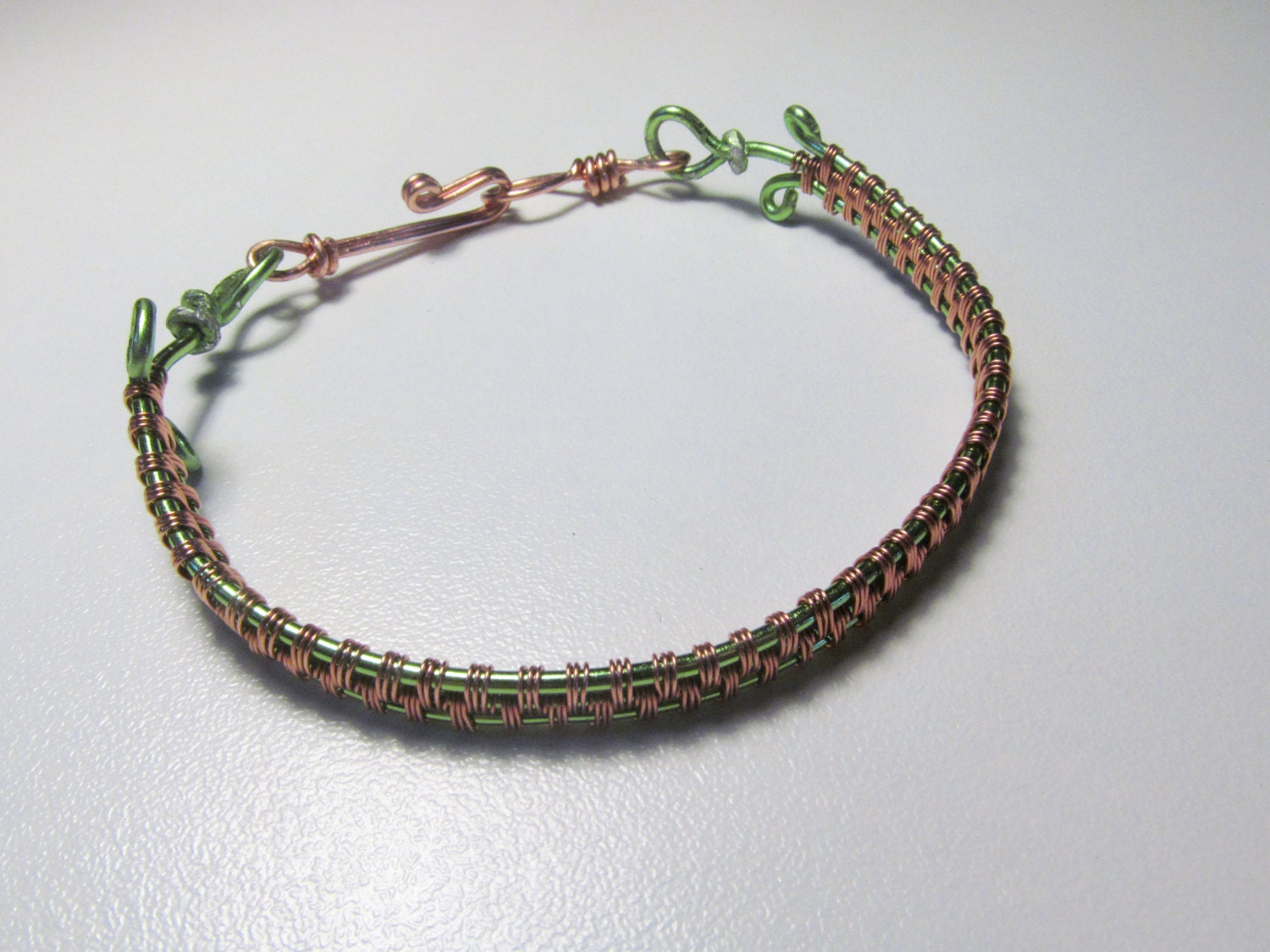 Woven Wire Bracelet Wire Wrapped Green and Copper wire With Hook ...
