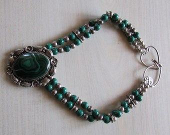 Malachite and Sterling Silver Necklace (P)