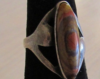 Sterling Silver and Jasper Ring  Size 6 1/2