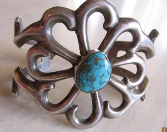 Sterling Silver and Turquoise Sand Cast Cuff Bracelet  Navajo