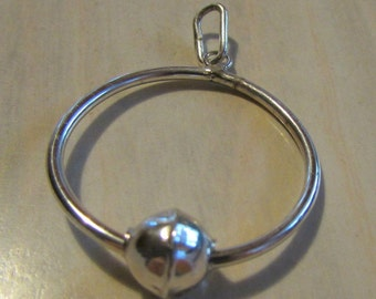 Sterling Silver Hoop and Bead Pendant