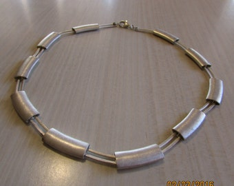 """Unique Brushed Silver 1"""" Curved Bars Necklace. 16 1/2"""" long"""