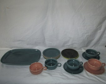 Lot of Miscellaneous Pieces of Stengl Pottery Dinnerware 17 Pieces