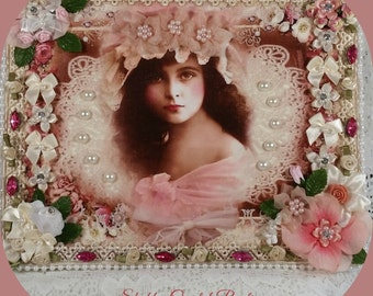 1/2 OFF Clearance Price- ROSIE Altered Shabby Chic Picture