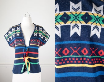1970s Southwestern Sweater, Native American Inspired Cardigan Sweater, Vintage Tribal Print Sweater 70s Sweater Bohemian Clothing Hippie Top