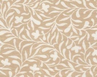 Organic Fabric, Ivy Print, Indian Cotton,organic fabric,by the yard,beige and white, boho fabric, fabric scraps, last piece,half yard