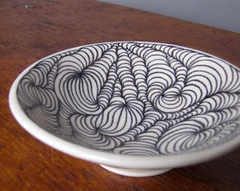 Small Pottery Bowl white with black design black and white