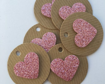 20 mini circular pink glitter heart gift tags, for birthdays, weddings, baby showers.