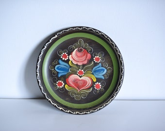 Austrian Hand-painted Floral Wooden Plate