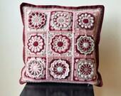 PDF Crochet Pillow Pattern - overlay crochet pink pillowcase - Granny Square flower motif - Instant download