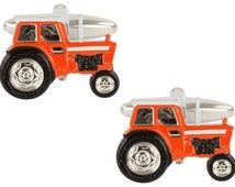 Premium Made In England Silver & Orange Tractor Cufflinks - Includes Luxury Gift Box