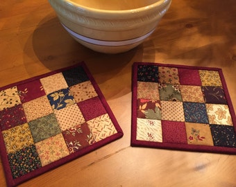 Patchwork Pot Holders /Quilted Pot Holders / Hot Pads  / Scrappy Pot Holders/ Item #1426