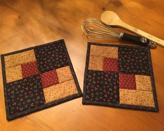 Quilted Potholders / Country Decor / Kitchen Potholders / Handmade / Item #1222