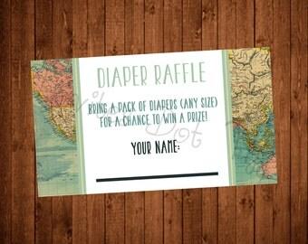 Adventure Themed Baby Shower Diaper Raffle Card