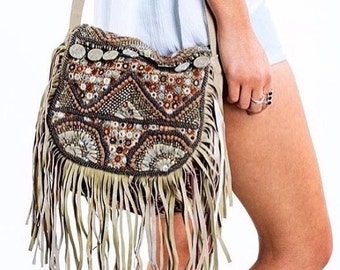 bohemian leather crossbody shoulder bag