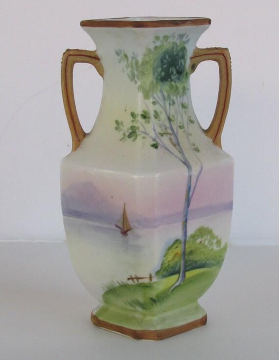 Nippon Porcelain Two Handled Vase