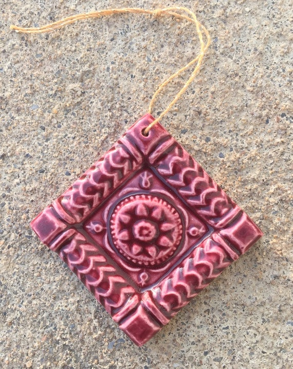 Holiday Ornament -- Ceramic Tile Ornament glazed in Royal Ruby, Butter Mold 2x2 Accent tile