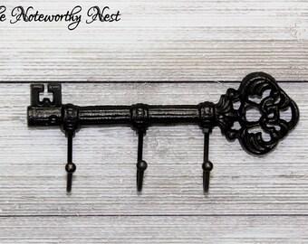 Skeleton key wall hook // Cast Iron Key Hook // Cast Iron hook // skeleton key // black decor // black wall decor // black key holder