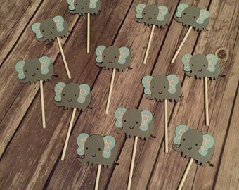 Elephant Cupcake Toppers- boy, girl, or gender neutral