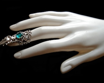 Silver Claw Ring Gothic Finger Jewel Vampire Witch Goth Finger Armor Green Emerald Jewelry