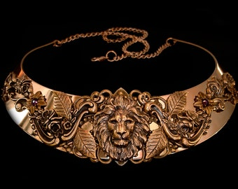 Lion Necklace Aslan Leo Medieval Renaissance Torc Middle Age Jewelry Lannister Game of Thrones Bronze Purple Amethyst