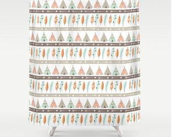 """Teepee Tribal Shower Curtain, 70""""x70"""" - Kids Bathroom Decor - Bath Decor"""