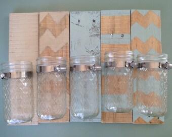 Mason Jar wall vase on reclaimed wood