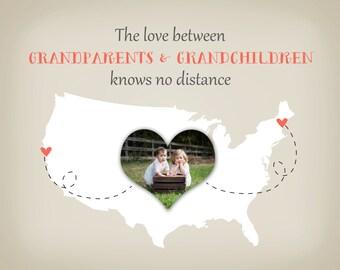 Grandparents Christmas Gift - Gift for Grandma and Grandpa, Grandmother, Custom Map from Grandkids Print Photo Map Long Distance Hanukkah