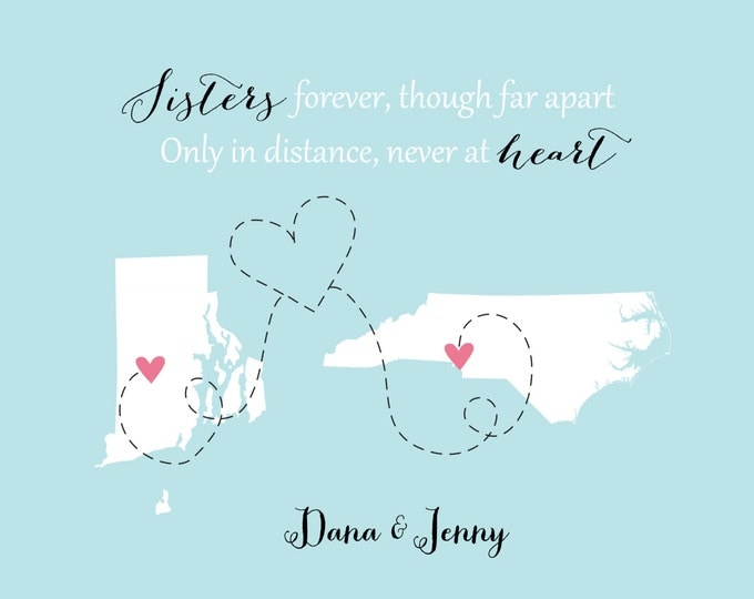 Sisters Birthday Gift, Going Away for Sister, Long Distance Sisters, State Love World Print, Step Sister, Daughter, Present, Long Distance