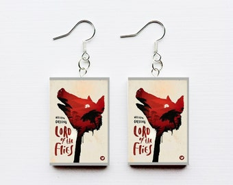 Lord of the Flies mini book earrings
