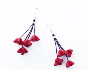 leather flowers earrings