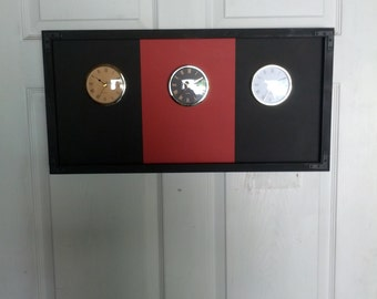 Black And Red Clock, The Original Time Zone Clock, Chalkboard Clock, 4 Clocks, Adults And Kids