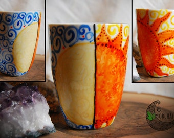 "Hand Decorated Cup ""The embrace of the gods""-the sun and the moon"